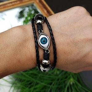 25% OFF 2+ | Unisex Evil Eye Leather Bracelet